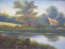 J Elliott Artist Victorian Oil Painting Signed #1of2 Ornate Gilt Gesso Frame 25""