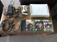 Xbox 360 3 games, wireless adapter, hard drive