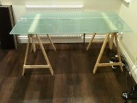 IKEA glass table top and trestle legs