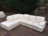 **BARGAIN** White Leather Sofas L Shaped Corner & 2 Seater Recliner