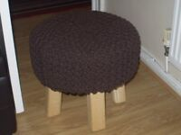 brown knitted footstool