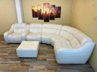 White Modular Leather Corner Sofa