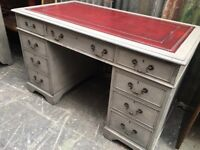 PARTNERS DESK SOLID WOOD PAINTED RED LEATHER TOP IN THREE PARTS