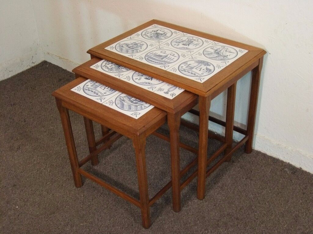 Vintage retro tile top danish teak nest of coffee tables free vintage retro tile top danish teak nest of coffee tables free delivery in the glasgow area geotapseo Image collections