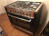 Stunning wide dual fuel range cooker 90cm practically new, hob never used.