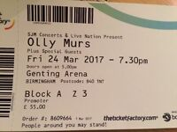 Olly Murs Single Ticket Genting Arena 24th March
