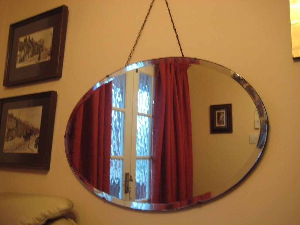 Genuine Vintage 1940 S Frameless Oval Mirror With Bevelled Edge And Original Hanging Chain