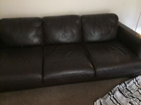 Large brown leather sofa bed