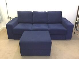 Blue three seater sofa & footstool (self assembly)