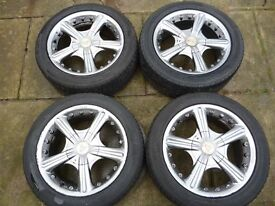 """MULTI FIT 15"""" 4 STUD ALLOY WHEELS WITH V.G.TYRES"""