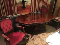Stunning high quality large antique table and 6 chairs solid wood