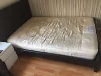 Double brown leather bed base