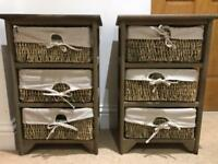 Chest of drawers with rattan baskets X2