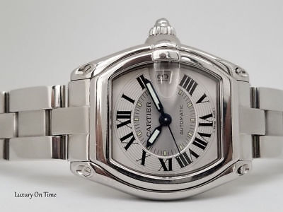 LARGE CARTIER ROADSTER 2510 AUTOMATIC SILVER DIAL STAINLESS (Large Automatic Steel White Dial)