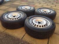"Vw T5 Transporter 16"" Steel Wheels With Hankook Tyres 205/65/r16c (NEW)"