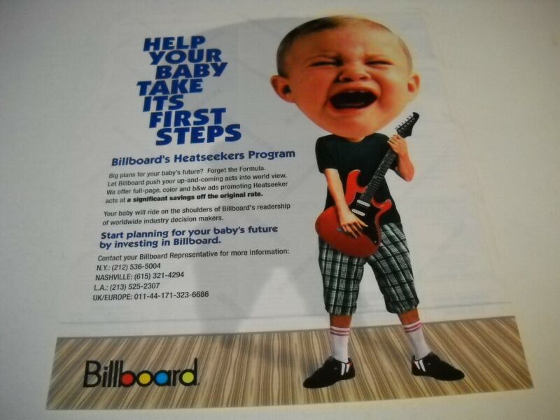 CRYBABY guitarist... humorous music biz original 1998 Promo Poster Ad
