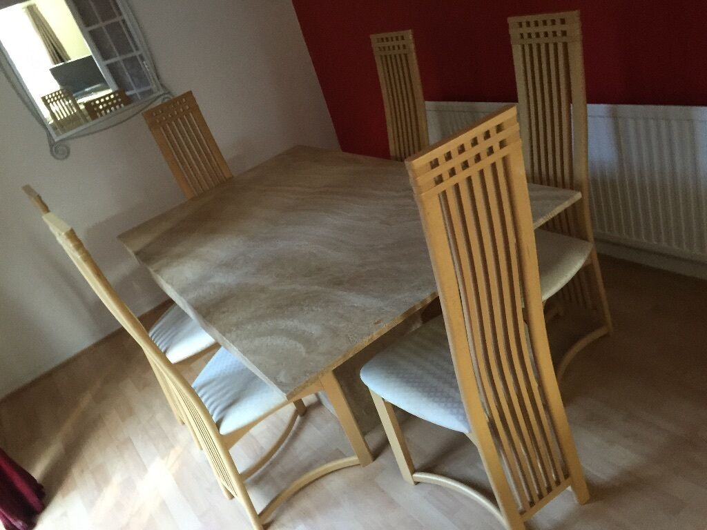 Stunning marble dining room table 6 chairs very good for Good dining table sets