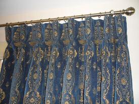 Double width, full length, velvet curtains, royal blue/gold, goblet headings, drop 2.7m