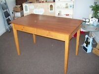 Old Fashioned Style Wooden Desk, Solid, Ideal for upcycling, two drawers,