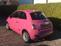 Pink Fiat 500 with Electric Sunroof and Low Mileage