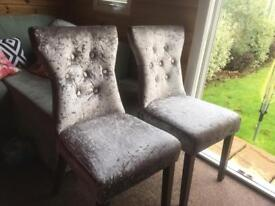 2 x velvet effect chairs