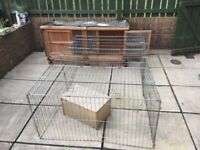 Rabbit hutch and pen and supplies