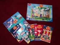 PHINEAS AND FERB BOOKS AND JIGSAW SELECTION K, LIKE NEW, VGC, 7 ITEMS