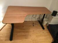 IKEA Bekant height adjustable corner desk - oak veneer