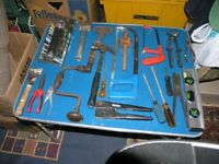 20 Assorted Tools Incl hammers,Brace and Bit,levels,chisels