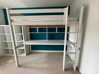 Brooklyn High Sleeper Bed, Desk & Shelves
