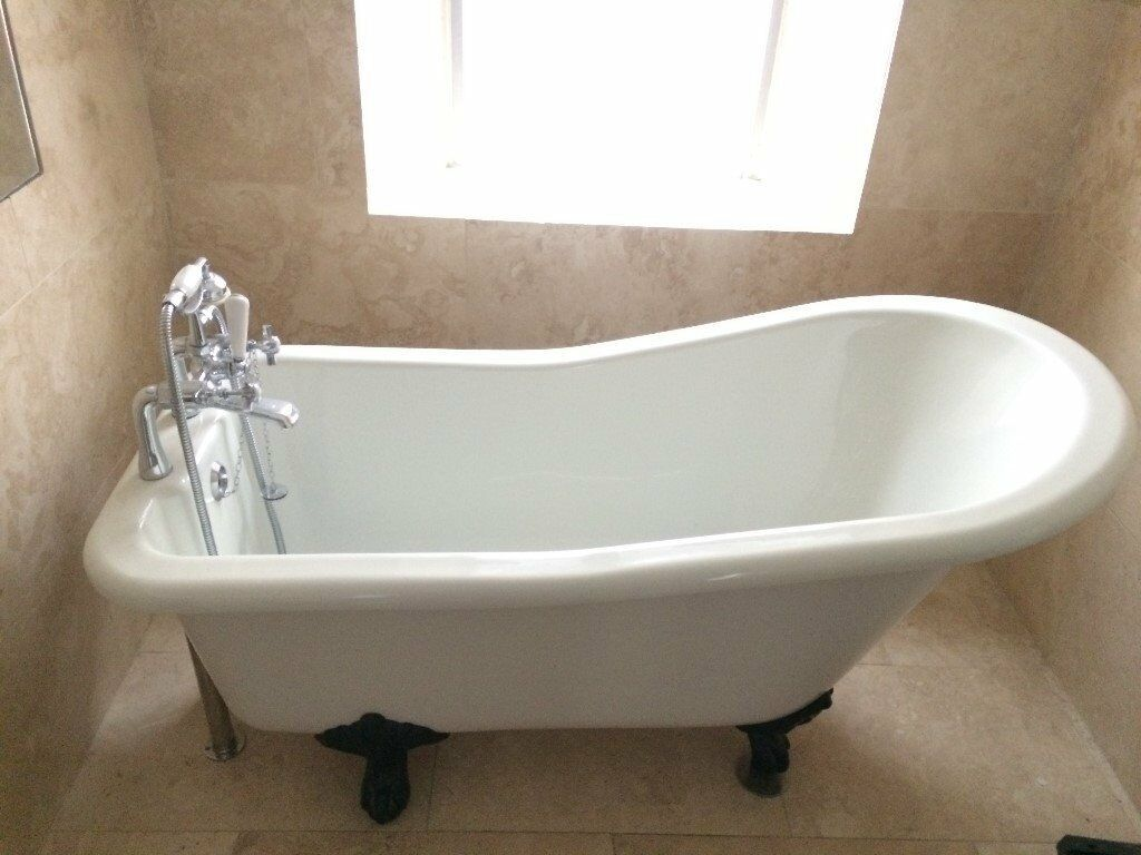 Free standing acrylic \'slipper\' bath with cast iron feet for sale c ...