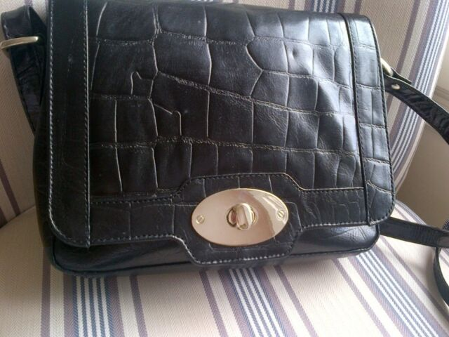 d5af20c83b Genuine Italian black croc leather crossover body handbag Sienna du Luca  (New Unused)