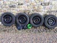VW T5 Steel Wheels and Tyres x4 with Hubcaps and Nuts