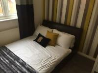 Black Double Faux Leather Bed inc mattress
