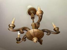 Vintage wooden carved 6 arm chandelier