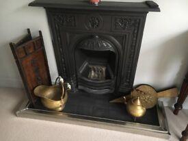 Antique fireplace accessories - brass coal scuttle & kettle, brass bellows & firescreen