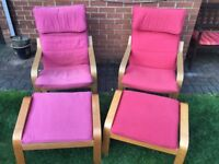 Two Ikea Poang Armchairs with Footstools