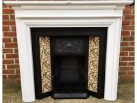 Tiled Victorian Style Cast Iron Fireplace & Lovely Solid Wood Painted Surround