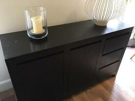 Black solid wood sideboard