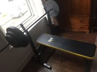 Everlast bench press equipment. Bench, bar and weights