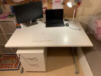 White Office Desk 120CM X 80CM with matching drawers