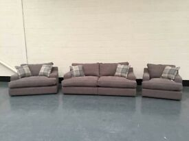 Ex-display Angelo brown plain fabric 3 seater sofa + snuggler chair and armchair