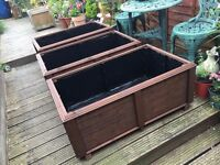 Garden Trough flower or vegetable Planters on feet - Hand made - Large Low version - 2 available