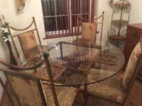 Matching Glass Dining Room Table, 4 Chairs, Side Board & Corner Shelf Unit