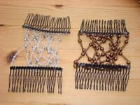 2 Beaded double hair combs, never used. One silver, One brown. So pretty.