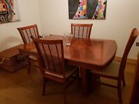 Four seater dining table and chairs