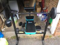Men's health weight lifting bench with weights