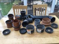 Sewer and drain pipe fittings job lot.
