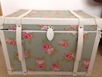 Vintage style shabby chic blanket box trunk / ottoman with green pink red rose fabric print