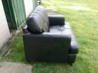 SMALL. 2 Seater Black Leather Sofa.